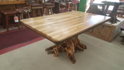 Hickory Dining Table with Stump Base 42-in x 72-in