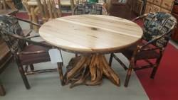 Round Hickory Dining Table - 48-in  with Stump Base