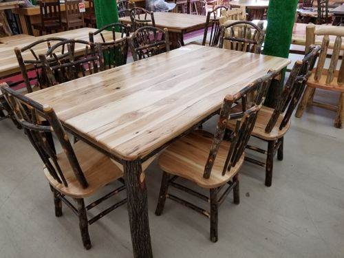 Rustic Hickory Log Cabin Dining Table