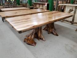 Solid Top Double Stump Hickory Dining Table 42-in x 96-in