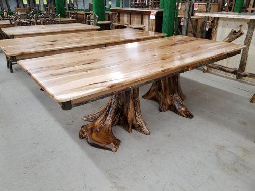 "Solid Top Double Stump Hickory Dining Table (42"" x 96')"
