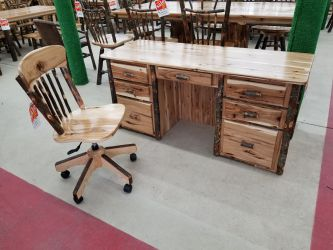 Double Pedestal Rustic Hickory Desk