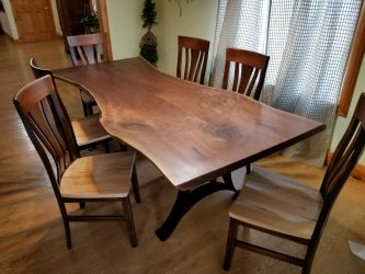 Walnut Bookmatch Slab Live Edge Dining Table