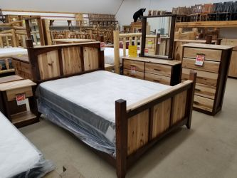 Rustic Hickory Bed With Stained Pine Accents