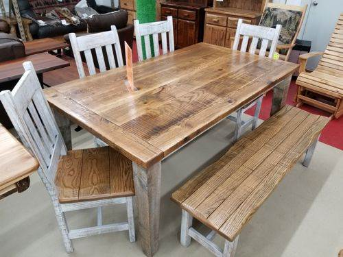 42-in x 72-in New Barnwood Dining Table Set Only