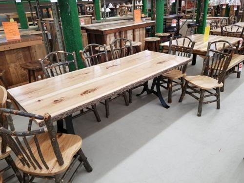 Live Edge Hickory Bookmatch Dining Table
