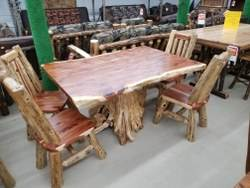 42-in x 60-in Red Cedar Dining Stump Table