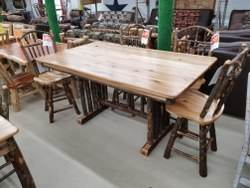Hickory Dining - 42-in x 72-in Log Spindle Counter Height Trestle Table