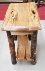 Rustic Hickory Shaped Chairside End Table
