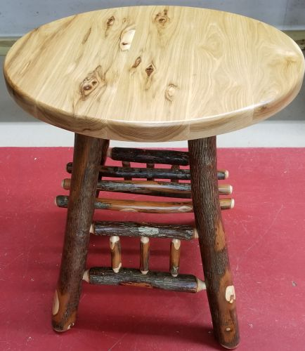 Rustic Hickory Round End Table