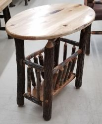 Rustic Hickory Oval Magazine Rack End Table