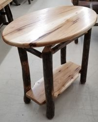 Rustic Hickory Oval Chairside End Table