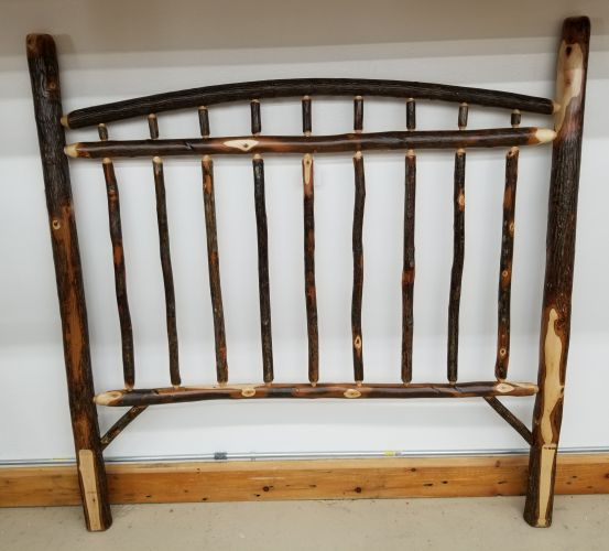 Rustic Hickory Stick Full Headboard Black River