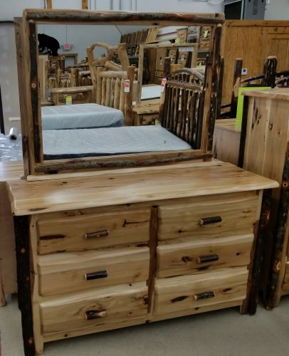 Rustic Hickory Shaped Top 6 Drawer Dresser Without Mirror