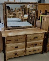 Live Edge Hickory 6 Drawer Dresser Without Mirror
