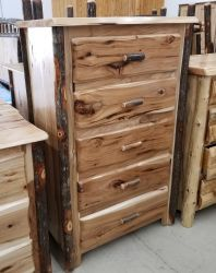 Live Edge Hickory 5 Drawer Chest