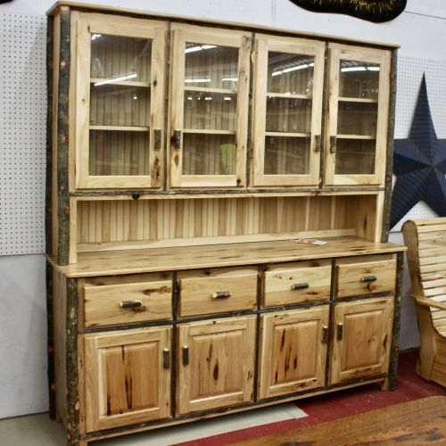 Rustic Hickory Cabin Dining Hutch