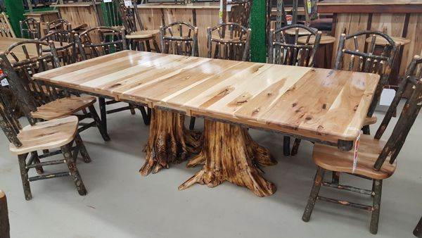 "Hickory Dining Table, Double Stump Base, 42"" x 72"" w/2 12"" Leaves"